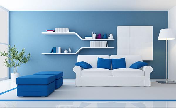 爽朗明净的蓝色墙面涂料